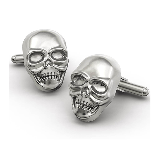 Cool Skull and Crossbone Personalised Cufflinks for Men Fashion White Gold Plated