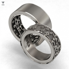 New Arrival Wedding Rings Set for Women and Men Flower Printed Fashion Trendy Attractive Ring Set