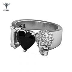 I Love Skull Ring Men Women Statement Black Heart Diamond Band …
