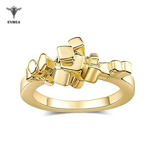 The Pixel Ring EVBEA Womens Simple Gold Color 3D Cubes Designer Rings