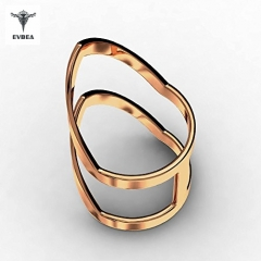 Chevron Ring Womens Long Statement 14K Gold Knuckle Pinky Forever Ring