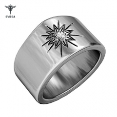 Mens Thumb Ring Class Spiritual Wide Sunburst Diamond Engagement Band
