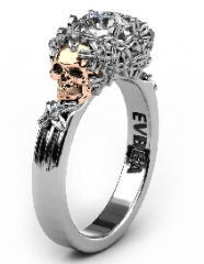 CZ Diamond Flower and Skull Engagement Ring Statement Solitaire Promise Wedding Ring