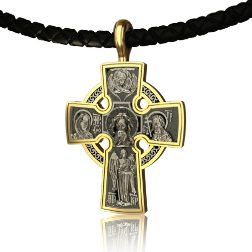 EVBEA Mens Cross Necklace Simple Viking Celtic Cross Pendant Jewelry with Black Genuine Leather Cord Chain Religious Gifts