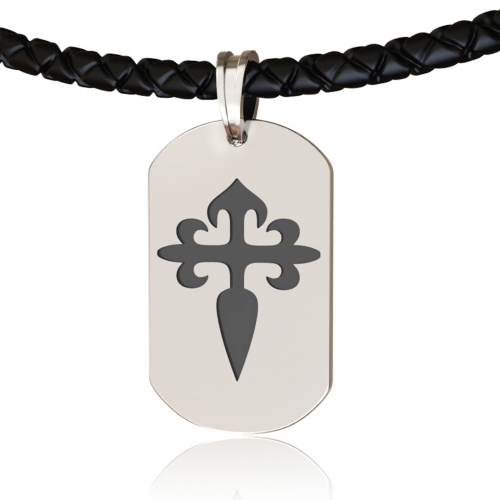 EVBEA Mens Cross Necklace Simple Dog Tag Pendant Jewelry with Black Genuine Leather Cord Chain Religious Gifts