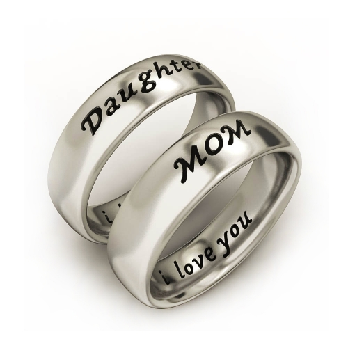 EVBEA Mother Daughter Son Jewelry Antique Family Band Rings Set Engraved ' I Love You