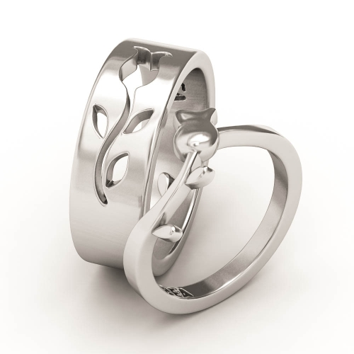 Wedding Bands Valentine Day Vintage Flower Promise Rings for Couples