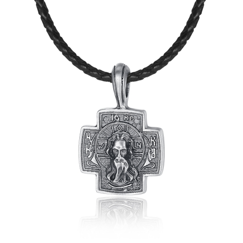 EVBEA Cross Necklace for Men Viking Celtic Serenity Prayer Pendant Crucifix Mens Jewelry with Black Genuine Leather Cord Chain Curb Link