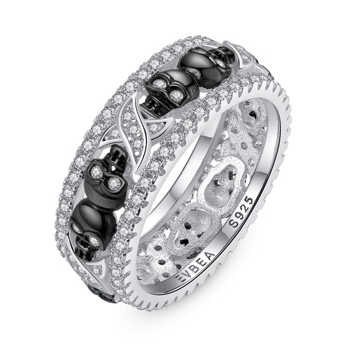 EVBEA Thumb Rings for Women Sterling Silver Promise Engagement Skull Wedding Bands with Crystal Birthstone and Cubic Zirconia