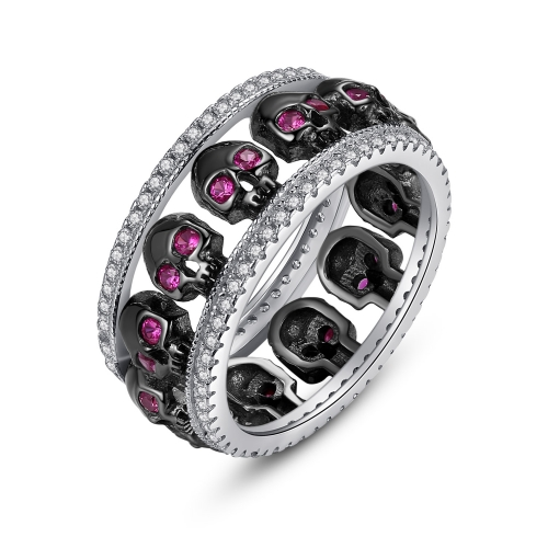 EVBEA Thumb Rings for Women Sterling Silver Promise Engagement Skull Wedding Bands with Amethyst Birthstone and Cubic Zirconia