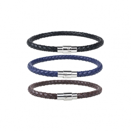 EVBEA Mens Bracelets Leather Punk Biker Men Wristband Rope Braided Bracelet Cuff Clasp 3 PCS Vintage Bracelets Wrap Set