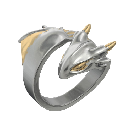 EVBEA Dragon Ring Platinum Vintage Adjustable Rings Cool Animal Jewellery for Women