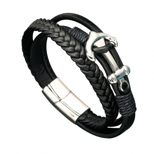 EVBEA Mens Leather Bracelet Anchor Viking Leather Wristband Braided Black Rope Bracelet Exquisite Handmade Men's Jewellery with Titanium Pusher Magnet