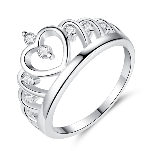 EVBEA Crown Ring for Women White Gold Plated Princess Crown Promise Rings with Diamonds Jewellery for Women with Gift Box