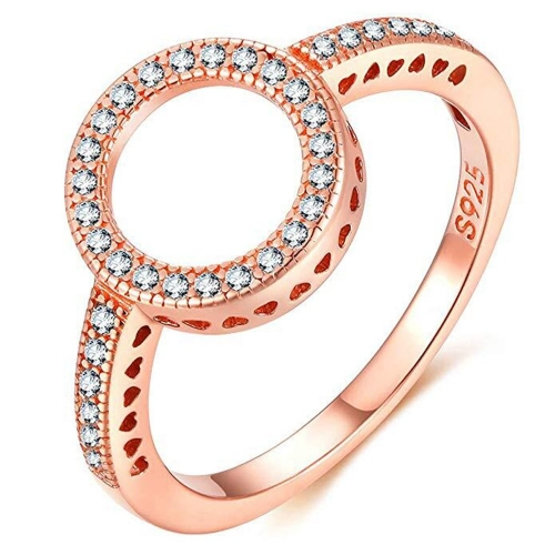 EVBEA Sterling Silver Rings Rose Gold Cubic Zirconia Pave Rigns for Women Crown Promise Rings for Her