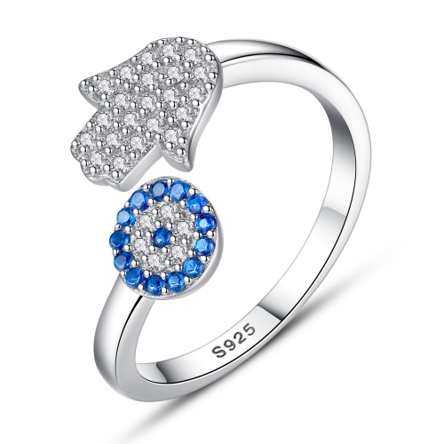 EVBEA Sterling Silver Ring Adjustable Rings Evil Eye Sapphire CZ Hamsa Hand Stackable Sterling Silver Midi Open Ring
