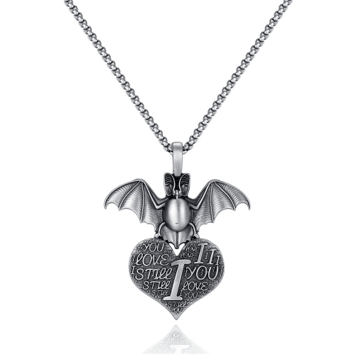 EVBEA Coronavirus Inspiriational Gifts for Women Men Cool Statement Bat Heart Pendant Necklace Engraved with I Love You for Girls